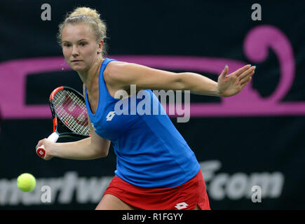 Prague, Czech Republic. 10th Nov, 2018. Czech tennis player Katerina Siniakova in action against US tennis player Alison Riske (not seen) within the 2018 Fed Cup final match between Czech Republic and USA, rubber 2, singles, at the O2 arena in Prague, Czech Republic, on November 10, 2018. Credit: Katerina Sulova/CTK Photo/Alamy Live News - Stock Image