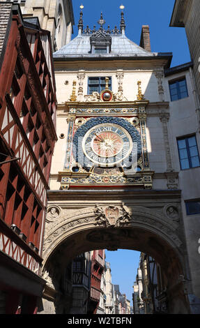 Clock in the Rue du Gros-Horloge, Rouen, Haute-Normandy, France - Stock Image