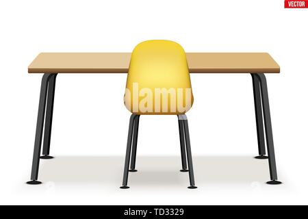 Workspace Wood table top with chair - Stock Image