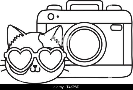 cat and photographic camera icon cartoon black and white vector illustration graphic design - Stock Image