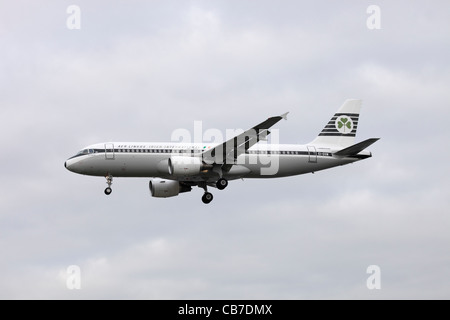 Aer Lingus Airbus A320-214 EI-DVM in retro livery on approach to Heathrow : cloudy sky - Stock Image