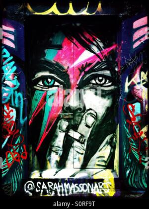Street art of David Bowie in Melbourne - Stock Image