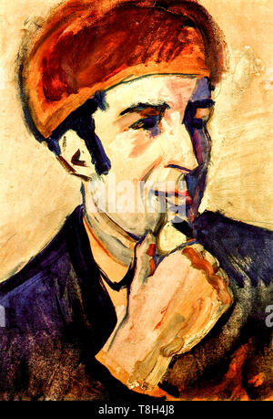 August Macke, portrait of Franz Marc (1880-1916), painting, 1910 - Stock Image