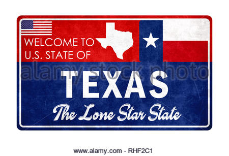 Welcome to Texas - grunge sign - Stock Image