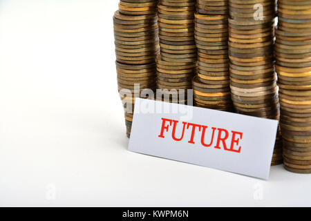 Word future with coins isolated on white background - Stock Image