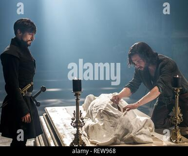 Blake Ritson & Tom Riley Television: Da Vinci'S Demons : Season 3 (TV-Serie)  Character(s): Girolamo Riario, Leonardo Da Vinci  Usa 2013-2015, / 3. Staffel, Season 3 24 October 2015  SAP60135 Allstar Picture Library/BBC WORLDWIDE  **Warning**  This Photograph is for editorial use only and is the copyright of BBC WORLDWIDE  and/or the Photographer assigned by the TV or Production Company & can only be reproduced by publications in conjunction with the promotion of the above TV Programme. A Mandatory Credit To BBC WORLDWIDE is required. The Photographer should also be credited when known. No com - Stock Image