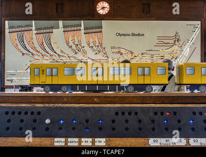 U-Bahn Museum Berlin. Transport museum in one of the former historic control rooms at the Olympia Stadium metro station.  The control room operated, 6 - Stock Image
