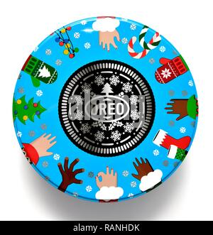 Oreo Christmas tin of biscuits - Stock Image