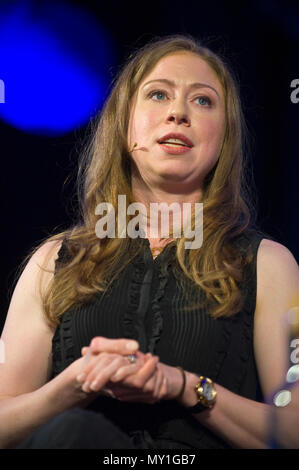 Chelsea Clinton campaigner & author speaking on stage at Hay Festival 2018 Hay-on-Wye Powys Wales UK - Stock Image