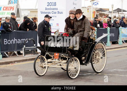 Mr Ben Collings driving his 1898 Benz, at the finish line of the 2018 London to Brighton Veteran Car Run. - Stock Image