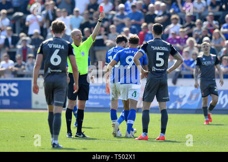 Lincoln City's captain Jason Shackell is sent off by Match referee Lee Mason during the Sky Bet Championship match at Brunton Park, Carlisle. - Stock Image