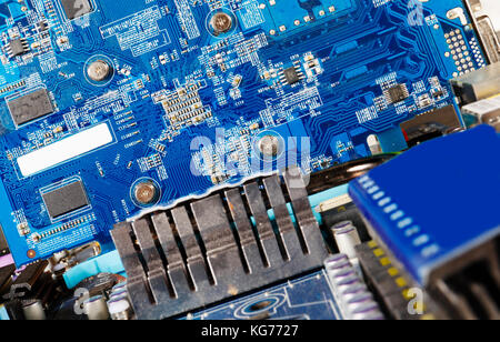 computer parts, motherboard with electronics and microchips - Stock Image