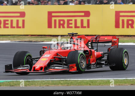 Silverstone Circuit. Northampton, UK. 13th July, 2019. FIA Formula 1 Grand Prix of Britain, Qualification Day; Sebastian Vettel driving his Scuderia Ferrari Mission Winnow SF90 Credit: Action Plus Sports/Alamy Live News - Stock Image