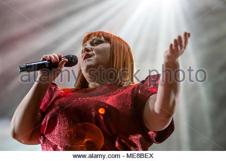 Chamonix, France, 21 April 2018. Beth Ditto performing live at the first edition of MUSILAC Mont-Blanc music festival in Chamonix (France) - 21 April 2018 Credit: Olivier Parent/Alamy Live News - Stock Image