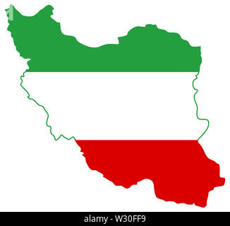 flag map iran illustration geography  country nation - Stock Image