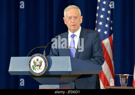 U.S. Secretary of Defense James Mattis gives remarks with U.S. Secretary of State Rex Tillerson following the inaugural - Stock Image
