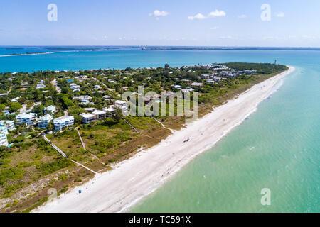 Sanibel Island Florida Gulf of Mexico beach East Gulf Drive homes Colony Beach Estates aerial overhead bird's eye view above Lighthouse Beach Park Poi - Stock Image
