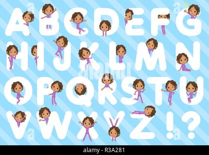 A set of women in sportswear designed with alphabet.Characters with fun expressions pose various poses.It's vector art so it's easy to edit. - Stock Image