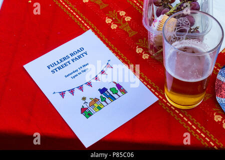 Invitation to a street party on the day of the wedding of Prince William and Meghan Markle, May 19th., 2018, Fullers Road, London E18, England. - Stock Image