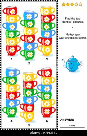 Visual puzzle with piles of colorful cups: Find the two identical pictures. Answer included. - Stock Image