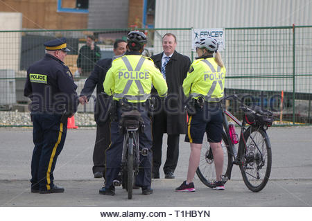 Maple Ridge, B.C. March 25, 2019 Canadian Prime Minister Justin Trudeau to address the media on affordable housing. RCMP security on hand. - Stock Image