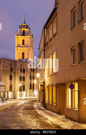 Winter evening in Vilnius old town. - Stock Image