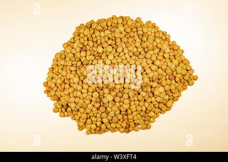 lentils isolated on white background. top view - Stock Image