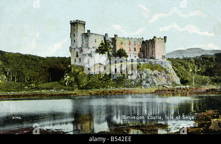 Old vintage picture postcard of Dunvegan Castle Isle of Skye   EDITORIAL USE ONLY - Stock Image