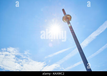 Low angle shot of British Airways' i360 viewing tower in Brighton. - Stock Image