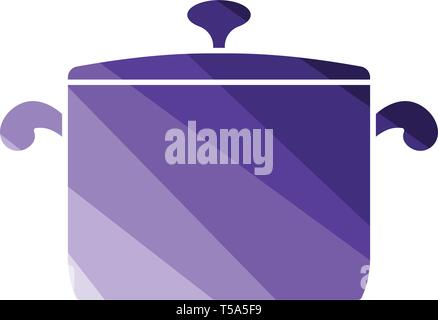 Kitchen pan icon. Flat color design. Vector illustration. - Stock Image