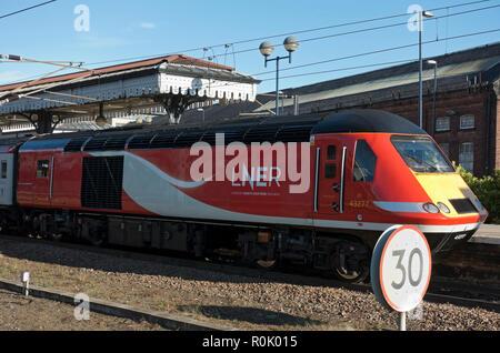 LNER train waiting at the station York North Yorkshire England UK United Kingdom GB Great Britain - Stock Image