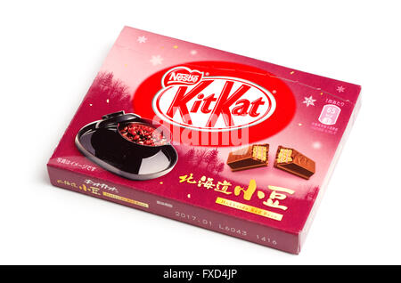 Box of Red bean flavoured KitKats from Hokkaido, Japan. - Stock Image
