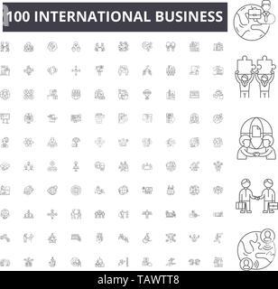 International business line icons, signs, vector set, outline illustration concept  - Stock Image