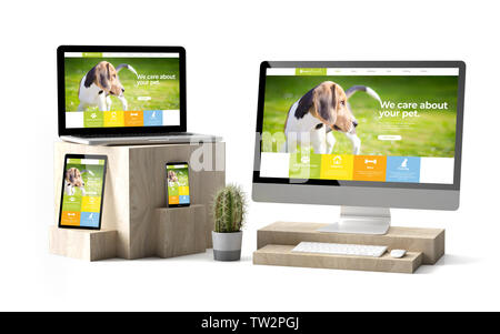 3d rendering of isolated devices over wooden cubes showing pet responsive website - Stock Image