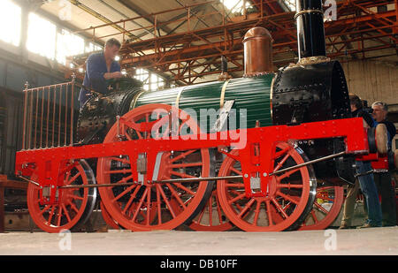 The photo shows the newly restored historic steam engine 'Adler' at the steam engine factory in Meiningen, - Stock Image