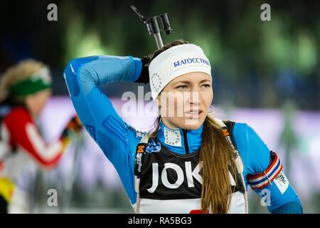 Darja Domratschewa (BLR). JOKA Biathlon World Team Challenge 2018 auf Schalke. - Stock Image