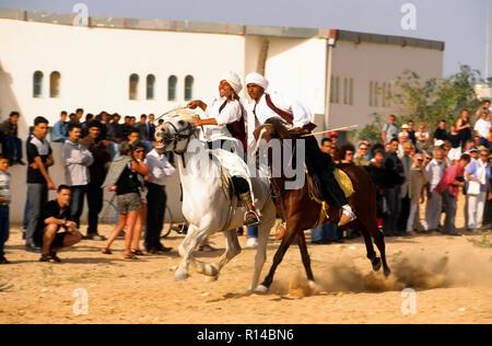 Arabian Horse Race, Djerba, Tunisia - Stock Image