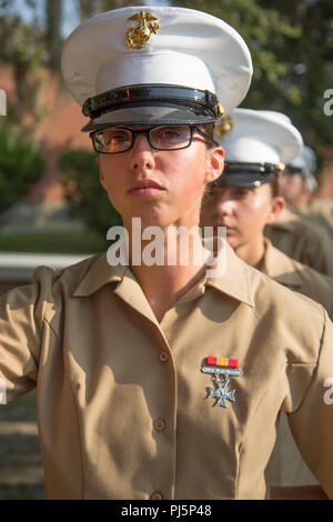 Pfc. Jaqueline Rio, honor graduate for Platoon 4031, Papa Company, 4th Recruit Training Battalion, graduated boot camp Aug. 24, 2018. Rio is from Ronkonkoma, N.Y.  (U.S. Marine Corps photo by Lance Cpl. Yamil Casarreal) - Stock Image