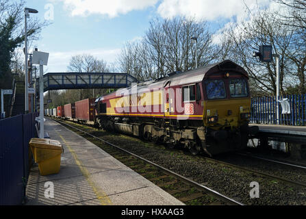 Container Train from Southampton Docks to Wakefield Europort at Reading West - Stock Image
