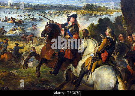 Crossing of the Rhine by the Army of Louis XIV, at Tolhuis  1699, Joseph PARROCEL, 1646 –  1704, The military event of 12 June 1672 the beginning of Louis XIV's Dutch campaign, France, French, - Stock Image
