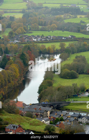 The Elan Wye Confluence from Garth Trig Point - Stock Image