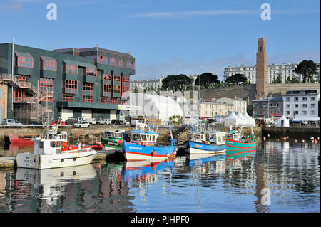 France, North-Western France, Brittany, Brest, concert hall and fishing ships - Stock Image