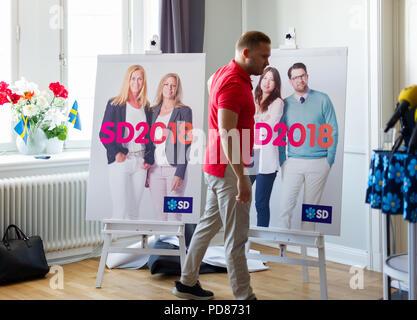 Stockholm, Sweden, August 7, 2018. Sweden Democrats unveil election posters. Press Manager Henrik Vinge (SD) unveils the election posters. Credit: Barbro Bergfeldt/Alamy Live News - Stock Image