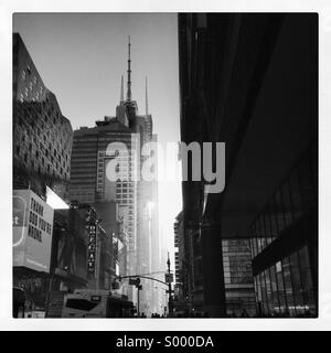 Black and white scene in manhattan New York heading towards Times Square - Stock Image