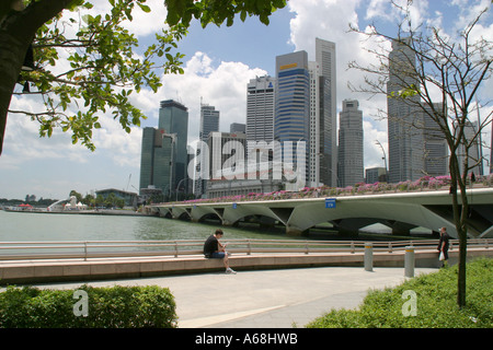 The business district and harbour area, Singapore - Stock Image