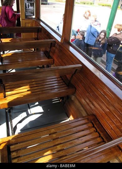 Old Tram Interior Wooden Seats Stock Photo Alamy