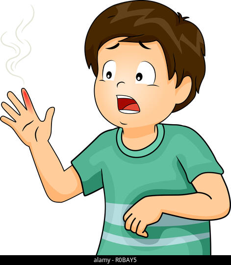 Illustration Of A Kid Boy In Pain With A Finger Suffering From Burns Stock Photo Alamy