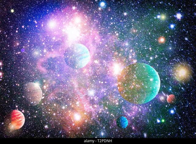 Stars of a planet and galaxy in a free space. Elements of this image  furnished by NASA Stock Photo - Alamy