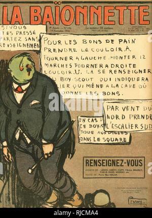 Vordere Abdeckung Design für La Baionnette, erkundigen. Ein Mann schaut verloren, fragen, wo als Erste Welt Krieg neigt sich dem Ende zu. Stockbild