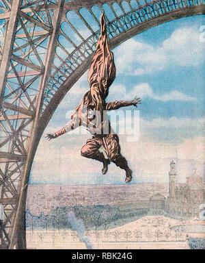 FRANÇOIS REICHELT (1879-1912) Böhmische Schneider und Erfinder der Fallschirm auf seiner tödlichen Sprung vom Eiffelturm vom 4. Februar 1912 Stockbild